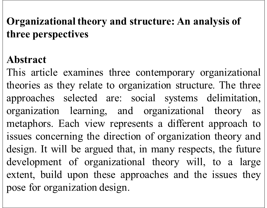 ترجمه مقاله Organizational Theory and Structure: An analysis of three perspective by Curtis Ventriss