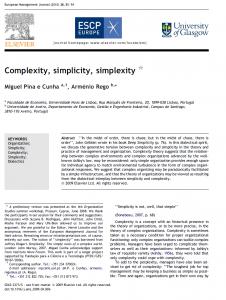ترجمه مقاله (Complexity, simplicity, simplexity (Miguel Pina e Cunha, Arme´nio Rego
