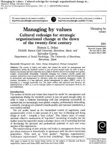 ترجمه مقاله Managing by Values Cultural Redesign for Strategic Organizational Change at the dawn of the twenty-first century By Shimon L. Dolan & Salvador Garcia