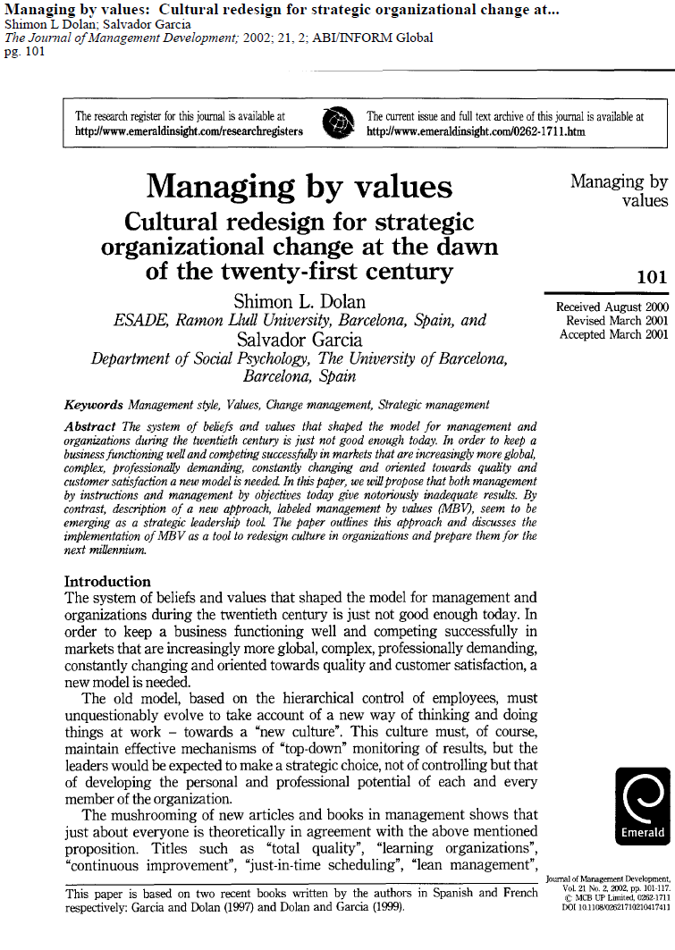 ترجمه مقاله Managing by Values Cultural Redesign for Strategic Organizational Change at the dawn of the twenty-first century By Shimon L. Dolan & Salvador Garcia